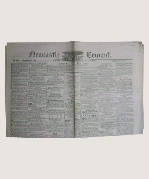 Newcastle Courant, May 21 1858.  Blackwell, John (editor).